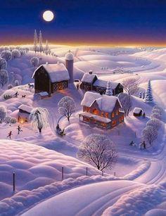 Folk Art Landscape Painting - Winter On The Farm by Robin Moline Christmas Scenes, Christmas Art, Winter Christmas, Winter Pictures, Christmas Pictures, Winter Szenen, Winter Moon, Farm Paintings, Illustration Noel