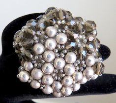 COPPOLA E TOPPO STYLE LARGE SMOKEY FACETED GLASS BEADS GREY SILVER PEARL RING