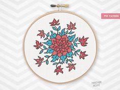 WILD FLOWER counted cross stitch pattern needlework flowers