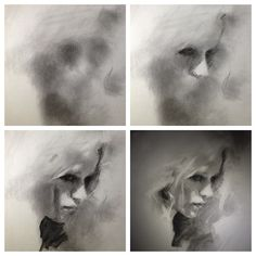 Charcoal process by Casey Baugh