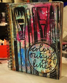 Project cover page, creative notebooks, mix media, mixed media art, book co
