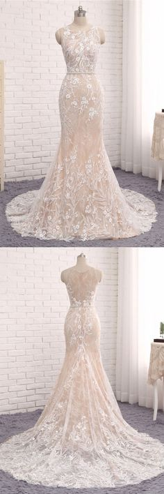Unique round neck lace mermaid long evening dress, wedding dress