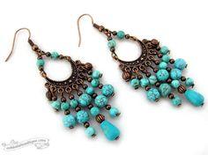 Scilla Turquoise Bohemian Chandelier Earrings, Boho Gypsy gift for her under 15