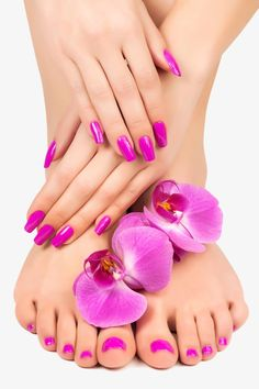 Pink manicure and pedicure with a orchid flower. Relaxing pink manicure and pedi , Beautiful Toes, Pretty Toes, Pretty Nails, Manicure Y Pedicure, Mani Pedi, Winter Nail Designs, Nail Art Designs, Manicure Rose, Purple Manicure