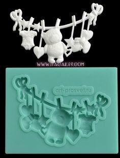 Toys Washing Line – Silicone Mold #ToysWashingLineSiliconeMold http://www.itacakes.com/product/toys-washing-line-silicone-mold/