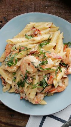 For a shrimp and pasta dish that's heartier than scampi, try this one made with a creamy mozzarella cheese sauce.