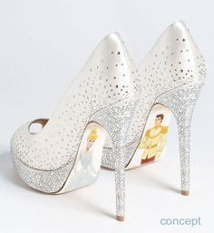 "Dazzle your heels and detail the bottoms. I think it would be cute if they said ""and they lived happily ever after"". You so could then have your foot pop in a picture so you could see the bottom [do it while you are giving the groom a kiss ;) ]: I want this for my wedding"