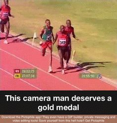 Lmao he's running faster than the athletes