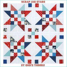 Idea for Daysail-A Little Bit Biased: Scrap Jar Stars ~ Tutoroial & Giveaway! Flag Quilt, Patriotic Quilts, Star Quilt Blocks, Star Quilt Patterns, Star Quilts, Patch Quilt, Scrappy Quilts, Patchwork Quilting, Mini Quilts
