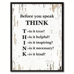 Before You Speak Think SayingCanvas Print Picture Frame Home Decor Wall Art Gifts