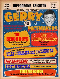 Gerry & the Pacemakers headline a stellar lineup ~ Brighton, England Hippodrome, February 1964 concert poster