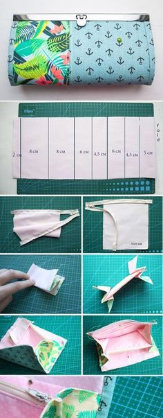 How to sew Wallet with a flat lock. Tutorial DIY http://www.handmadiya.com/2017/05/wallet-with-flat-lock-tutorial.html Sew Wallet, Fabric Wallet, Fabric Bags, Purse Tutorial, Diy Handbags Tutorial, Bag Tutorials, Diy Clutch, Clutch Bag, Diy Bags Purses