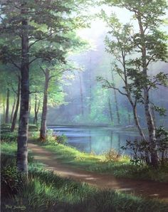 Fred Buchwitz Sunlit Path – Courteney Mccray Lane – Join the world of pin Watercolor Trees, Watercolor Landscape, Landscape Art, Landscape Paintings, Pictures To Paint, Art Pictures, Beautiful Paintings, Beautiful Landscapes, Jolie Photo