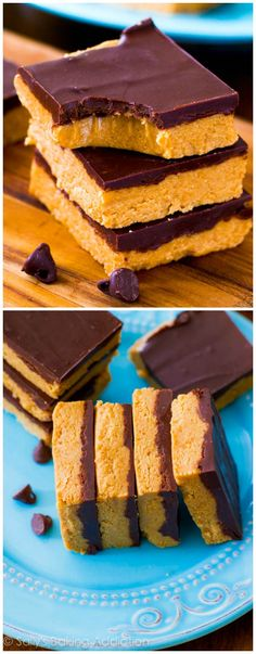 5 Ingredient Chocolate Peanut Butter Bars that taste like Reese's! Just a warning: they're very addicting.