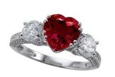 Ruby Ring Heart Shaped With Diamonds For Wedding