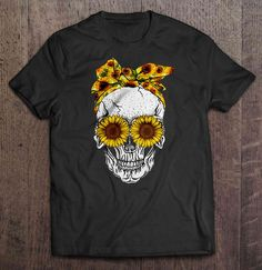 Sunflower Bandana And Eyes Skull - Buy For & on Cheesetee Funny Tee Shirts, Graphic Tee Shirts, Flower Child Style, Clothes For Sale, Clothes For Women, Hippie Style Clothing, Sunflower Art, Skull Shirts, Cute Gif