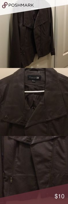 Faux Leather Jacket Faux leather, dark brown jacket. Hits about hip. Lightly worn and it good shape. Forever 21 Jackets & Coats