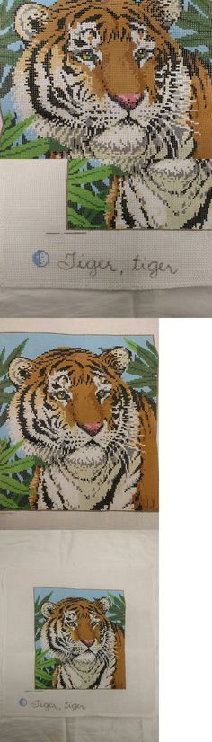 Plastic Canvas 19159: Sandra Gilmore Hand Painted Needlepoint Canvas Tiger Tiger New 7X8 Sg 18194 -> BUY IT NOW ONLY: $85 on eBay!