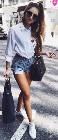 White Shirt + Denim Shorts                                                                             Source