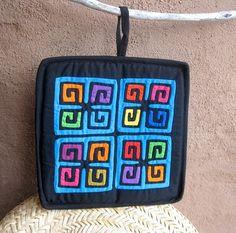 Geometric Mola Potholder  Turquoise  Handsewn Kuna by molamama, $17.50