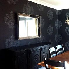 damask-stencil on a black wall...I want this for my dining room!  Absolutely gorgeous!