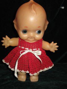 Vintage Kewpie Doll  Vinyl w Original Crotched Red Dress- Japan-1960's DARLING!! #Dolls