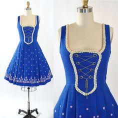 Vintage 50s Cotton Linen Dress 1950s German by GeronimoVintage