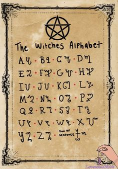A great start to any Book of Shadows is the Witches Alphabet, a good way to hide secrets and spells you need hidden from wandering eyes. Witchcraft Spell Books, Witch Spell Book, Magick Spells, Green Witchcraft, Healing Spells, Magick Book, Witches Alphabet, Witchcraft Spells For Beginners, Wiccan Magic
