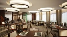 Crystal restaurant in Hungary, Győr city. Luxury modern interior with sweet ambient.