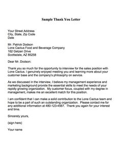 Job Interview Thank You Letter - interview thank you letters after ...