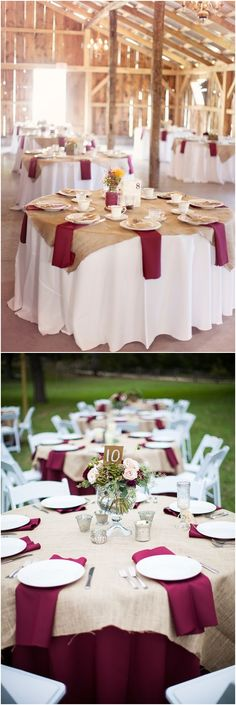 Black/ivory table cloths with a gray overlay (instead of the burlap here)? Give the eggplant napkins some pop