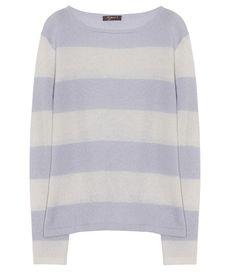 10per3 Cashmere Pullover Rundhals Lavendel mit Streifen