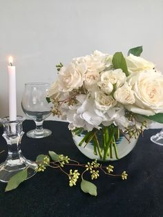 all white centerpiece with roses and hydrangea | GALLERY White Centerpiece, Centerpieces, Table Decorations, Floral Bouquets, All White, White Roses, Hydrangea, Photo Galleries, Floral Design