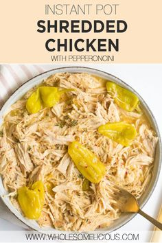 Instant Pot Pepperoncini Chicken is a quick and easy dinner that's also delicious. Tangy pepperoncini's help to make your chicken juicy, while some ranch seasoning provides a nice flavor bomb. The perfect compliment that's cooked and ready in 10 minutes! Homemade Ranch Seasoning, Homemade Seasonings, Whole 30 Recipes, Real Food Recipes, Paleo Recipes, Chicken Flavors, Chicken Recipes, 30 Minute Dinners, Stuffed Banana Peppers