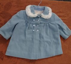 Vintage Beautiful Girl's Blue Coat Circa 1940's -1950's