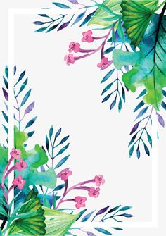 Summer plant watercolor hand painted vector border, Frame, Vector, Watercolor Hand Painted PNG and Vector Plant Wallpaper, Watercolor Wallpaper, Watercolor Plants, Floral Watercolor, Iphone Wallpaper, Watercolor Background, Tropical Frames, Tropical Flowers, Art Floral