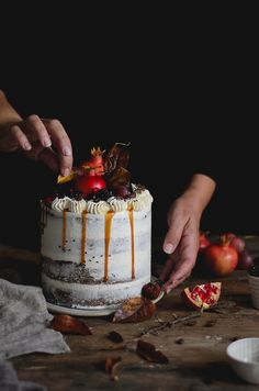 Coffee carob naked cake with buttercream and salted caramel