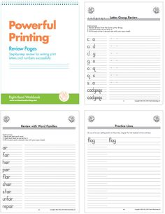 Handwriting Review pages: Student practice writing letters within letter groups; lower case letters are practiced first, followed by  upper case letters and then numerals; students work through additional handwriting drills on specific review pages, such as spelling patterns, days of the week, sentences and practice lines #handwriting #print