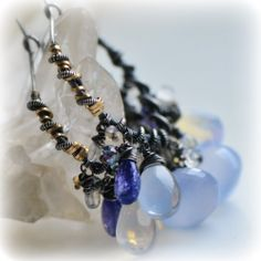 Emilie Gray Jewels on etsy - Earrings - wire wrapped with gemstones of chalcedony tanzanite moonstone