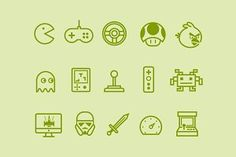 Ad: 15 Video Game Icons by Creative VIP on Creative Market. A gorgeous collection of video game icons including both modern and retro games. Represented is Pacman, Angry Birds, Super Mario, Space games icon Video Game Symbols, Video Game Logos, Video Game Tattoos, Tattoo Videos, Star Wars Tattoo, Star Tattoos, Arcade Game Console, Robot Icon, Icons