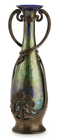 JUVENTA & LOETZ GLASS PEWTER MOUNTED LOETZ GLASS VASE, CIRCA 1905 31cm high