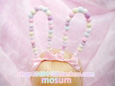 Rabbit ears headband hair ball bendable lolita headdress hair accessories bow angelic pretty lo Mother