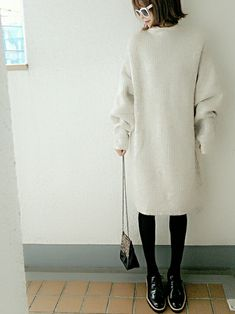 コマさんさんのコーディネート ZARAメリヤス編みドレス ニットワンピース