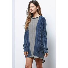 La Hearts Cable Knit Acid Wash Cardigan ($60) ❤ liked on Polyvore featuring tops, cardigans, cotton cable cardigan, open front cardigan, cable cardigan, blue cardigan and cotton cardigan
