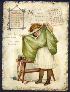 Frances Brundage - when the . Vintage Greeting Cards, Vintage Ephemera, Vintage Paper, Vintage Postcards, Vintage Sewing, Calendar Girls, Calendar Pages, Look Vintage, Vintage Prints