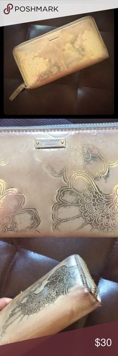 Kate Spade full gold large size wallet Super cute and rare beautiful authentic Kate Spade dull gold large size wallet. Has some flaws showing in pix but still have lots of life. kate spade Bags Wallets