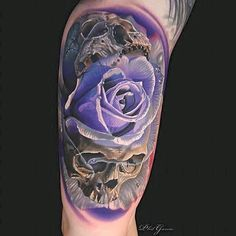 Violet Rose Skulls tattoo by Phil Garcia