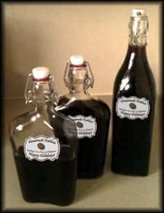 Homemade kahlua coffee liqueur makes a great gift! This recipe is easier than you might think.  Use interesting bottles and print personalized labels for an extra special touch.