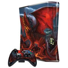 Cover Skin Stickers for 360S Game Console and Controllers with Red Dragon with Wings Pattern