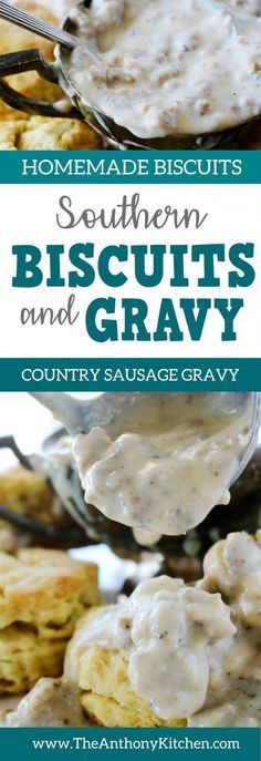 Southern biscuits and gravy An easy recipe for perfect homemade biscuits topped with Southern sausage gravy Southern Biscuits And Gravy, Southern Sausage Gravy, Homemade Gravy For Biscuits, Homemade Sausage Gravy, Sausage Gravy And Biscuits, Biscuit And Gravy, Southern Gravy Recipe, Vegetarian Biscuits And Gravy, Simple Biscuits And Gravy Recipe